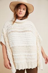 Plus Size Anthropologie Marilyn Poncho in White Size: 2 X, Women's Sweaters