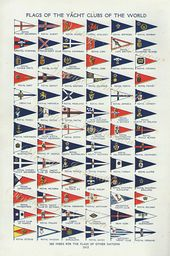 Antique Yacht Club Flags Vintage Bookplate Chart 1930s Wall Etsy Yacht Club Boat Flags Yacht