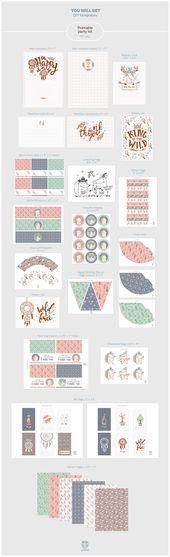 Printable Boho Birthday Party Kit by Yeticrab on Creative Market