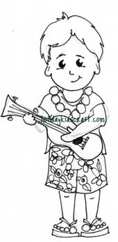 Little Boy Playing Ukulele In Hawaiian Coloring Page Free Online Letscolorit Com