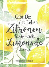 Sprich: Gibt dir das Leben von Zitronen, dann mache Limonade daraus    – Motivation