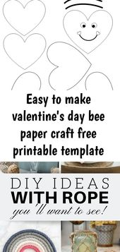 Easy to make valentine's day bee paper craft free printable template