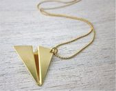 Paper Airplane Necklace in Gold, Origami Necklace, Paper Inspired Necklace, Aircraft Lover Gift, Adventure Jewelry, Traveling Gift