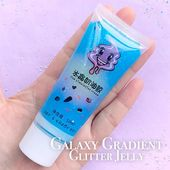 Rainbow Deco Cream with Glitter | Glittery Whip Cream in Jelly Color | Kawaii Whipped Cream | Galaxy Decoden Phone Case (50ml / Translucent Blue)