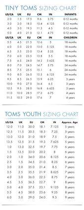 TOMS Kids Size Chart | Shoe size chart