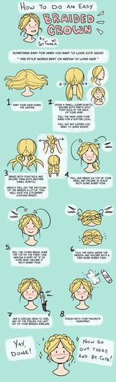 How to make a simple braided crown Naturally curly hair? Here they are … – #a #simple #braided #hair #here