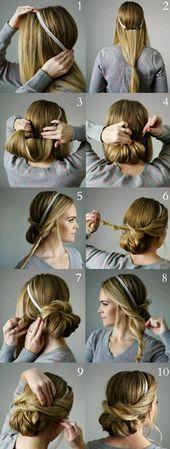 lange, blonde haare, graue bluse, hochsteckfrisur selber machen – frisur