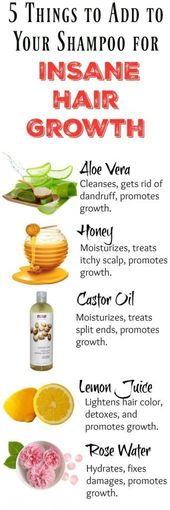 5 INGREDIENTS TO ADD TO YOUR SHAMPOO FOR FAST HAIR GROWTH  #wieghtloss #beautyha…