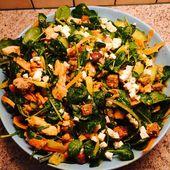 Salat mit Babyspinat, Kichererbsen, Huhn usw. – inspiriert von Jamie Oliver