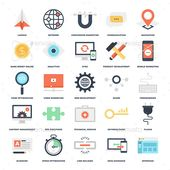 Abstract vector set of colorful flat SEO and development icons.  Archive contains easy to edit .eps and .ai vector format and high
