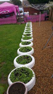 DIY Ideen mit alten Reifen – Reifen Pflanzer Kanten – Rustikale Bauernhaus Dekor Tutorial …   – Greenhouse-Gardening