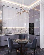 lila schwarzer Marmor moderne Küche kleine intell…