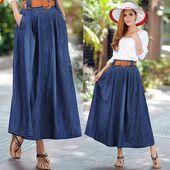 2017 Summer Womens Denim jupe Femme Long Maxi jupes pour les femmes Jeans Jupe Long …   – Skirts Vintage
