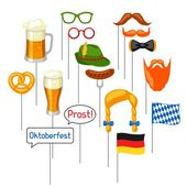 Set of Oktoberfest photo booth props. Accessories for festival.. – Photo Booth Props