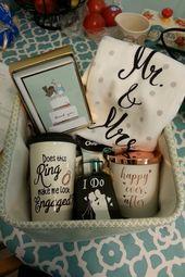 Engagement gift basket #engaged #ring #mugs #wedding #bride #giftbasket   – A Wedding Time // Hochzeit