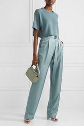 Sally LaPointe – Breitbeinhose aus Seidensatin mit Gürtel und Gürtel   – Stitch Fix Style Inspiration