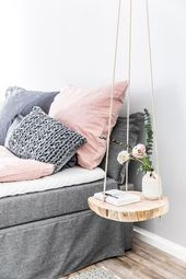 DIY hanging table: for more wood in the hut   – Schlafzimmer: Inspiration