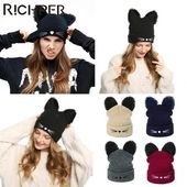 2019 New Winter Hats For Women Wool Hat Sweet Cute Beanies Cat Wild Knit Hat Fashion Warm Earmuffs Caps Skullies Gorros Bonnet – Fall / Winter Fashion @ EMW|Fashions