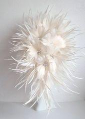 Feather Brides Bouquet – Federstrauß, Hochzeitsstrauß, kaskadierender Strauß, Te …
