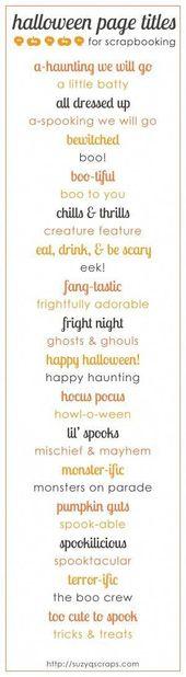 halloween einklebebuchseitentitel von lorene #ScrapbookQuotes