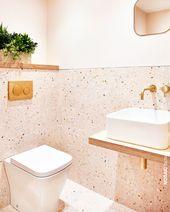 Rosa Badezimmer Wand- und Bodenfliesen der TERRAZZ…