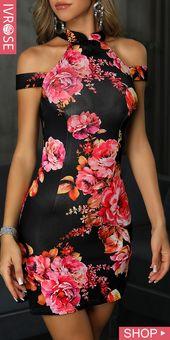 Koude schouder bodycon jurk met bloemenprint   – Mode – Styles