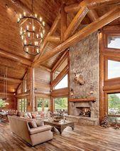 60 Stunning Log Cabin Homes Fireplace Design Ideas…