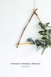 DIY Foraged Triangle Christmas Wreath