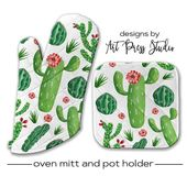 Kitchen Towels Oven Mitt Pot Holder and Kitchen Towel Set, Cactus Oven Mitt, Cactus Flower Pot ...
