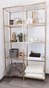 Dekor Regal in Gold # uxdesign #kitchendesign #fashioncowok #indianfashionblogger … Wohnung #cake – home decorasyon – My Blog – Dekoration Wohnung