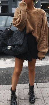 pinterest @kyliieee | baggy sweater outfit ideas for women | doc martens fall fashion street style