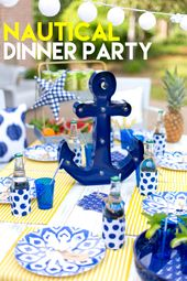 Tips for styling the perfect Nautical Dinner Party! Pizzazzerie.com Target #targ…