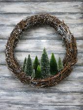 Primitive & Rustic 18″ Wreath with Trees…Original Design & made by Maine Artis…
