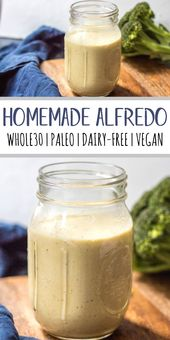 This homemade Whole30 Alfredo sauce is so thick and creamy, with a garlic and ch…