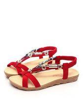 VERYVOGA Frauen Sandalen Flache Schuhe Flascher Absatz Stoff Perlstickerei Sanda