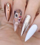 Disney Stiletto Nails; Süße Stiletto-Nägel; Stiletto Sargnägel; Einfach Stil …   – Nagel Ideen