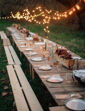 An diesem Herbstempfang im Freien gibt es viel zu lieben. Die Idee zum Aufhängen …   – Fall Weddings
