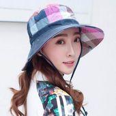 Beiläufiger Plaid bcuket Hut für Paket-Sonnenhut-Reiseabnutzung der Frauen im Freien   – Frauen Hut