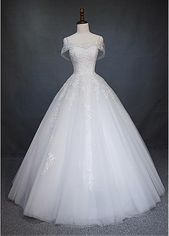 Magbridal Engaging Tulle Off-the-shoulder Neckline A-Line Wedding ceremony Gown With Beaded Lace Appliques