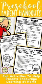 Übergeordnete Handouts für PreK, Vorschule – All Preschool @TpT