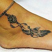 Breloque cheville plume charme pendentif de tatouage conception joli détail   – Fußring