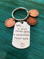 Personalized Dad Keychain, Christmas Gift From Son Daughter, Custom Daddy Key Ring, Gift For Him, Birthday Gift For Daddy