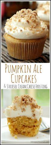 Kürbis Ale Cupcakes mit Streusel Frischkäse Zuckerguss Rezept – einfach …