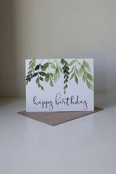 Alles Gute zum Geburtstagskarte, Efeu Geburtstagskarte, Aquarell Karte, hübsche Geburtstagskarte, einfache Geburtstagskarte,