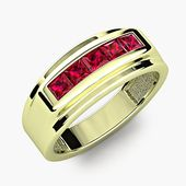 Modern Men Ruby Channel Set Anillo de bodas de aniversario en oro verde de 18 quilates Banda R # 620-77   – Men's Rings/Bands