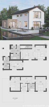 Einfamilienhaus modernen Grundriss schmal mit Büroverlängerung & Satteldach …   – Baustil