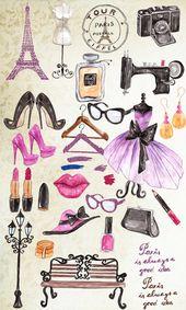 "Paris fashion clipart: ""FASHION CLIPART"" Eiffel Tower dress makeup shoes bags sunglasses beauty accessories DIY invites watercolor clipart – Cari mujeres"