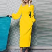 Lipswag 3XL Autumn Lantern Sleeve Bodycon Dress Women Fashion O Neck Solid Color Long Dress Elegant Ladies Party Dress Vestidos