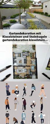 Gartendekoration mit Kieselsteinen und Steinkugeln  #gartendekoration #kieselste…