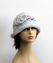 Frauen Hut Krempe häkeln Hut Cloche Hut der 1920er Jahre Stil Hut Chemo Hut alle Jahreszeiten Hut einzigartiges großes Geschenk  – DIY